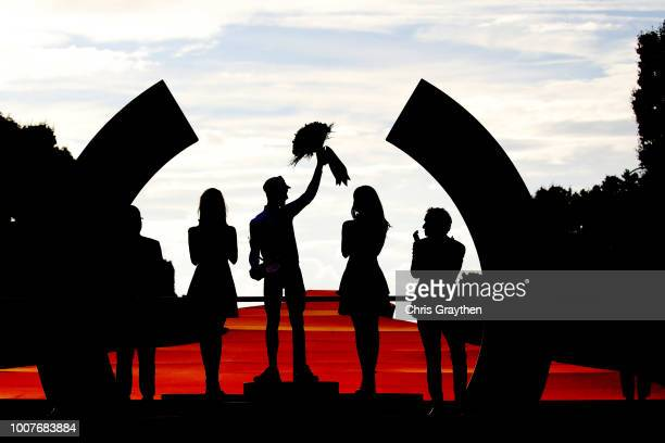 Podium / Julian Alaphilippe of France and Team QuickStep Floors Polka Dot Mountain Jersey / Celebration / Silhouet / during the 105th Tour de France...