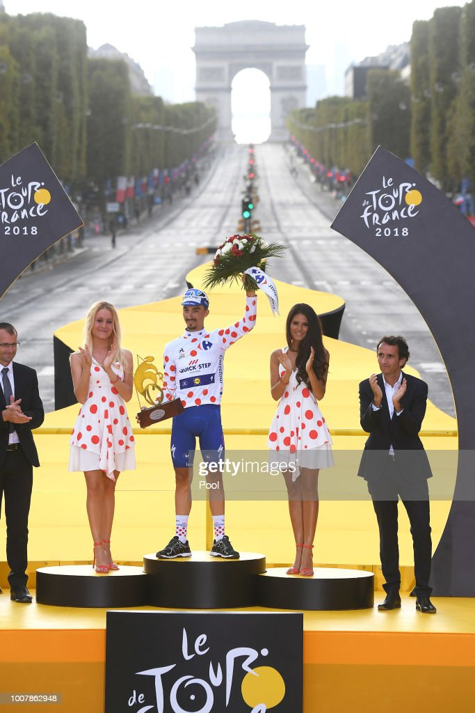 Podium / Julian Alaphilippe of France and Team Quick-Step Floors Polka Dot Mountain Jersey / Celebration / Arc De Triomphe / during the 105th Tour de France 2018, Stage 21 a 116km stage from Houilles to Paris Champs-Elysees / TDF / on July 29, 2018 in Paris, France.