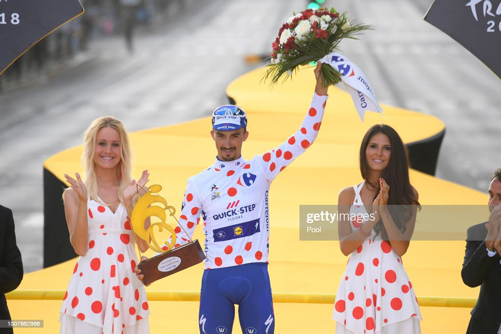 Podium / Julian Alaphilippe of France and Team Quick-Step Floors Polka Dot Mountain Jersey / Celebration / during the 105th Tour de France 2018, Stage 21 a 116km stage from Houilles to Paris Champs-Elysees / TDF / on July 29, 2018 in Paris, France.