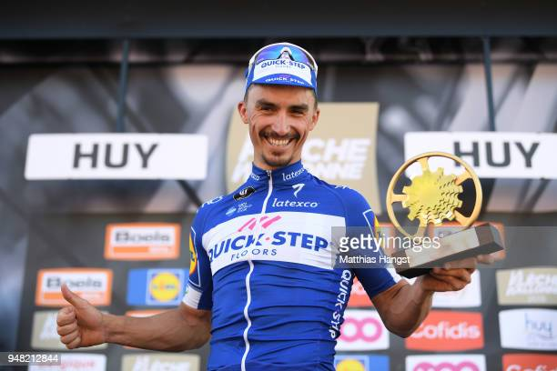 Podium / Julian Alaphilippe of France and Team QuickStep Floors / Celebration / Trophy / during the 82nd La Fleche Wallonne 2018 a 1985km race from...