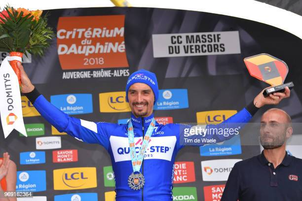 Podium / Julian Alaphilippe of France and Team Quick-Step Floors / Celebration / Trophy / Flowers / during the 70th Criterium du Dauphine 2018, Stage...