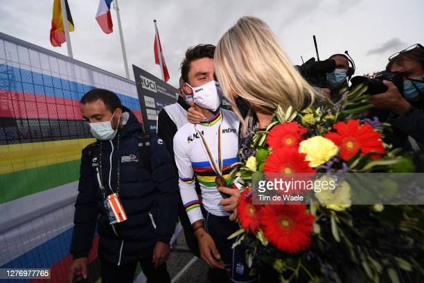 Podium / Julian Alaphilippe of France Gold medal World Champion Jersey / Marion Rousse of France Girlfriend - Ex-Pro rider-TV Journalist /...