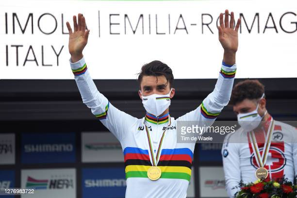Podium / Julian Alaphilippe of France Gold medal World Champion Jersey / Celebration / Mask / Covid Safety Measures / during the 93rd UCI Road World...