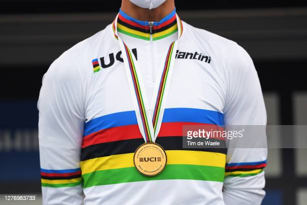 Podium / Julian Alaphilippe of France Gold medal World Champion Jersey / Celebration / Detail view / during the 93rd UCI Road World Championships...