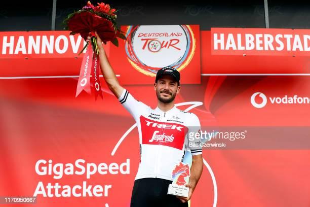 Podium / Julien Bernard of France and Team Trek-Segafredo Most Combative Trophy / Celebration / during the 34th Deutschland Tour 2019, Stage 1 a...