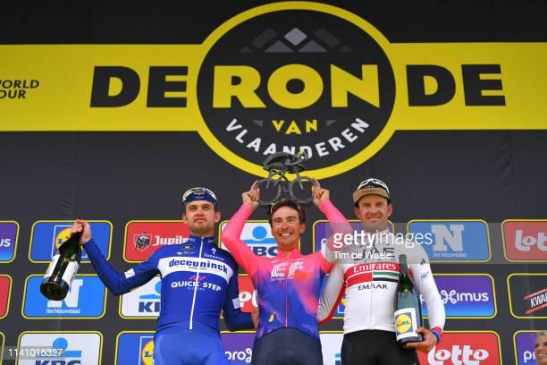 Podium / Kasper Asgreen of Denmark and Team DeceuninckQuickstep / Alberto Bettiol of Italy and Team Ef Education First / Alexander Kristoff of Norway...