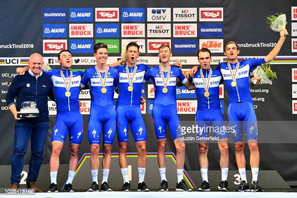 Podium / Kasper Asgreen of Denmark / Laurens De Plus of Belgium / Bob Jungels of Luxembourg / Yves Lampaert of Belgium / Maximilian Schachmann of...