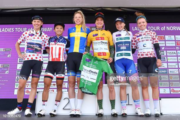 Podium / Katarzyna Niewiadoma of Poland and Team Canyon SRAM Racing Polka Dot Mountain jersey / Coryn Rivera of The United States and Team Sunweb /...