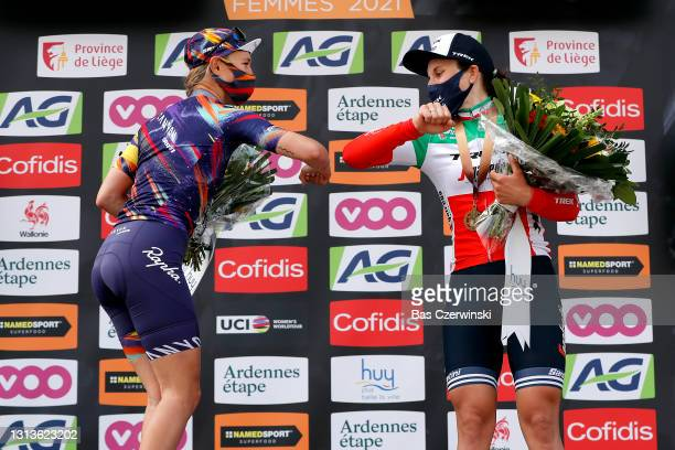 Podium / Katarzyna Niewiadoma of Poland and Team Canyon SRAM Racing & Elisa Longo Borghini of Italy and Team Trek - Segafredo celebrates during the...