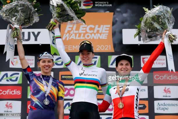 Podium / Katarzyna Niewiadoma of Poland and Team Canyon SRAM Racing, Anna Van Der Breggen of Netherlands and Team SD Worx & Elisa Longo Borghini of...