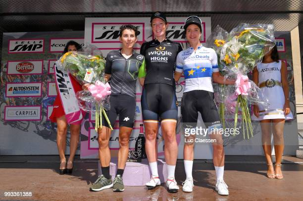 Podium / Kirsten Wild of The Netherlands and Team Wiggle High5 / Celebration / Giorgia Bronzini of Italy and Team Cylance Pro Cycling / Marianne Vos...