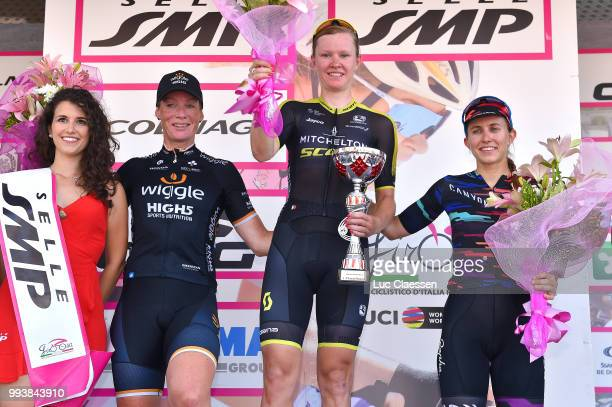 Podium / Kirsten Wild of The Netherlands and Team Wiggle High5 / Jolien DHoore of Belgium and Team Mitchelton-Scott / Alexis Ryan of The United...