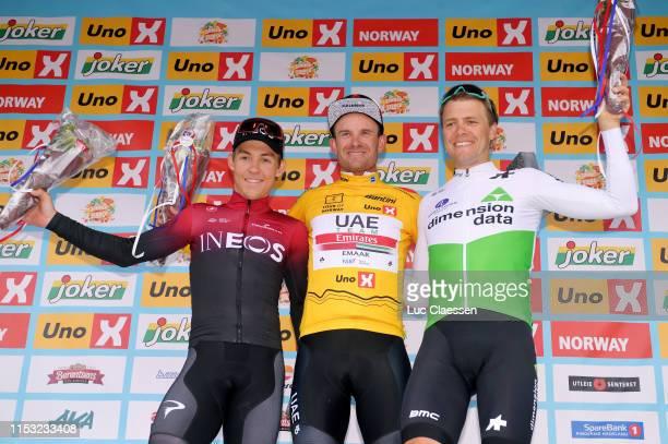 Podium / Kristoffer Halvorsen of Norway and Team INEOS / Alexander Kristoff of Norway and UAE Team Emirates Yellow Leader Jersey / Edvald Boasson...