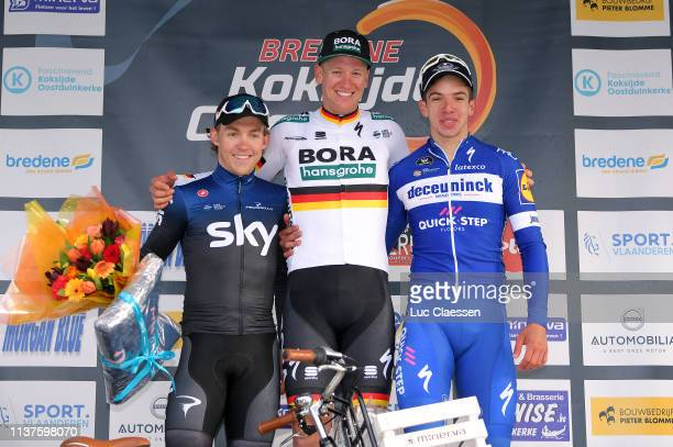 Podium / Kristoffer Halvorsen of Norway and Team Sky / Pascal Ackermann of Germany and Team BoraHansgrohe / Alvaro Jose Hodeg Chagui of Colombia and...