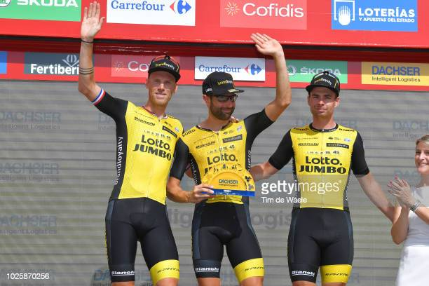Podium / Lars Boom of The Netherlands and Team LottoNL - Jumbo / Tom Leezer of The Netherlands and Team LottoNL - Jumbo / Bert-jan Lindeman of The...
