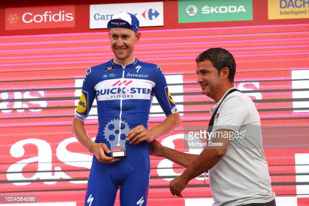 Podium / Laurens De Plus of Belgium and Team QuickStep Floors / Best Young Rider / Celebration / during the 73rd Tour of Spain 2018 Stage 3 a 1782km...