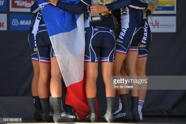 Podium / Lea Courinier of France / Emeline Eustache of France / Maina Galand of France / Marie Le Net of France / Jade Wiel of France / Team France...