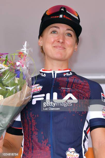 Podium / Leah Kirchmann of Canada and Team Sunweb / Blue Sprint jersey Celebration / during the 21st Boels Rental Ladies Tour 2018, Prologue - Stage...