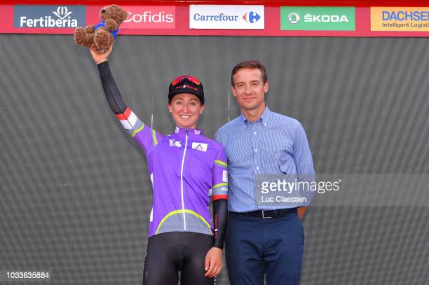 Podium / Leah Kirchmann of Canada and Team Sunweb / Celebration Purple Leader Jersey / Celebration / during the 4th Madrid Challenge by la Vuelta,...