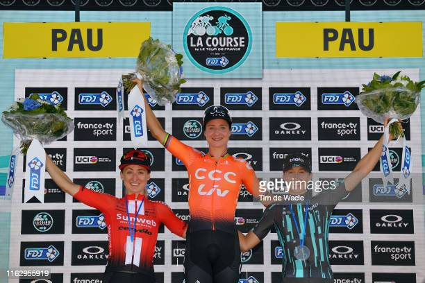 Podium / Leah Kirchmann of Canada and Team Sunweb Women / Marianne Vos of The Netherlands and Team CCC-Liv / Cecilie Uttrup Ludwig of Denmark and...