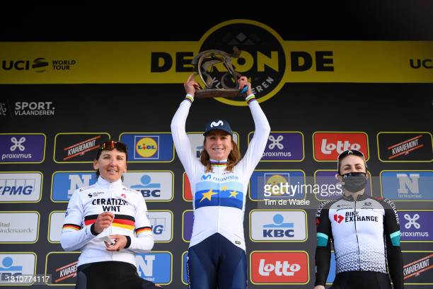 Podium / Lisa Brennauer of Germany and Ceratizit – WNT Pro Cycling Team, Annemiek Van Vleuten of Netherlands and Movistar Team Women & Grace Brown of...