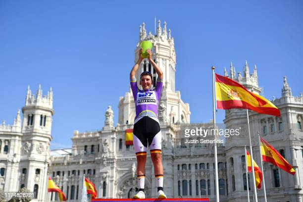 Podium / Lisa Brennauer of Germany and WNT Rotor Pro Cycling Team Purple Leader Jersey / Celebration / Trophy / Madrid Town Hall / Plaza Cibeles /...