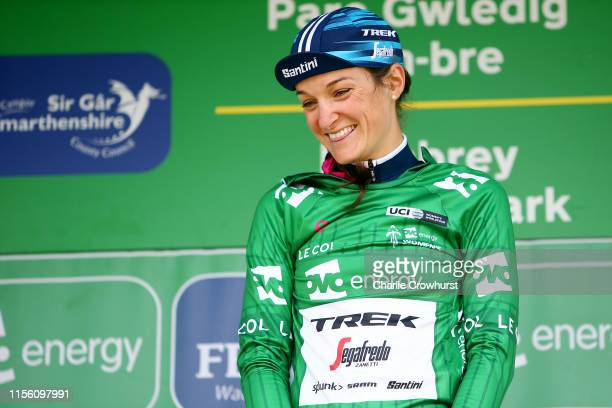 Podium / Lizzie Elizabeth Armitstead-Deignan of United Kingdom and Team Trek - Segafredo OVO Energy Green leader jersey / Celebration / during the...