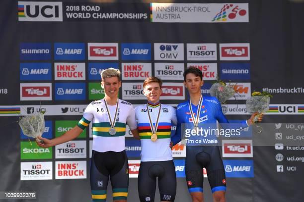 Podium / Lucas Plapp of Australia Silver Medal / Remco Evenepoel of Belgium Gold Medal / Andrea Piccolo of Italy Bronze Medal / Celebration / during...