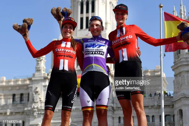 Podium / Lucinda Brand of The Netherlands and Team Sunweb / Lisa Brennauer of Germany and WNT Rotor Pro Cycling Team Purple Leader Jersey / Pernille...