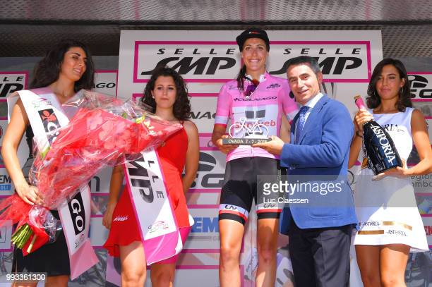Podium / Lucinda Brand of The Netherlands and Team Sunweb Pink Leader Jersey / Celebration / Champagne / during the 29th Tour of Italy 2018 - Women,...