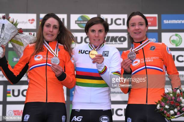 Podium / Lucinda Brand of The Netherlands and Team The Netherlands Silver Medal / Sanne Cant of Belgium and Team Belgium Gold Medal / Marianne Vos of...
