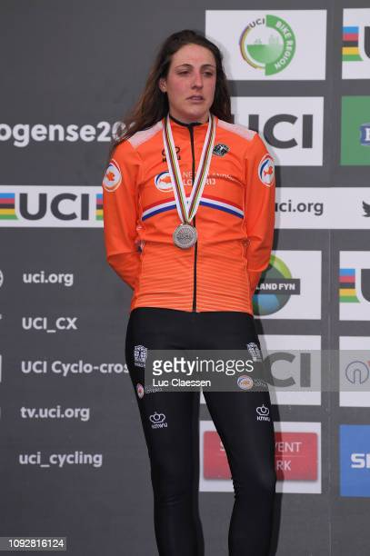 Podium / Lucinda Brand of The Netherlands and Team The Netherlands Silver Medal / Celebration / during the 70th Cyclo-cross World Championships...
