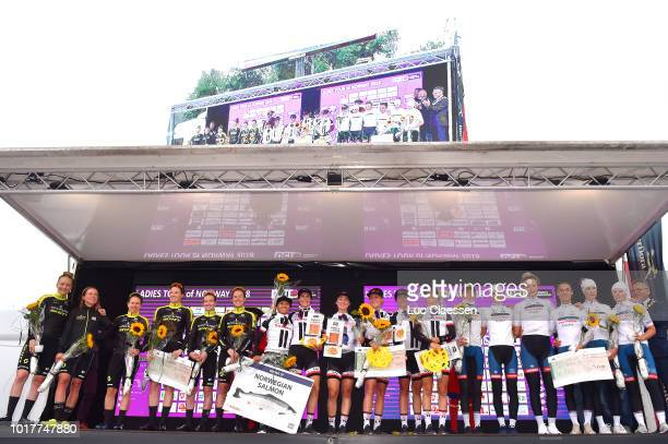 Podium / Lucinda Brand of The Netherlands / Leah Kirchmann of Canada / Liane Lippert of Belgium / Floortje Mackaij of The Netherlands / Coryn Rivera...