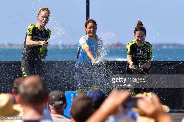 Podium / Lucy Kennedy of Australia and Team Mitchelton-Scott / Arlenis Sierra of Cuba and Astana Women's Team / Amanda Spratt of Australia and Team...