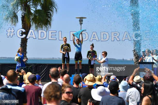 Podium / Lucy Kennedy of Australia and Team MitcheltonScott / Arlenis Sierra of Cuba and Astana Women's Team / Amanda Spratt of Australia and Team...