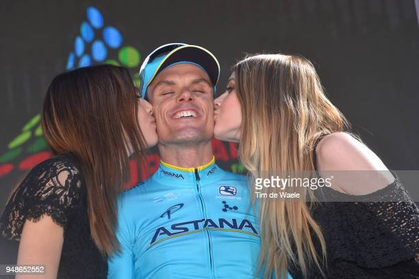 Podium / Luis Leon Sanchez of Spain and Astana Pro Team / Celebration / Trophy /during the 42nd Tour of the Alps 2018, Stage 4 a 134,4 stage from...