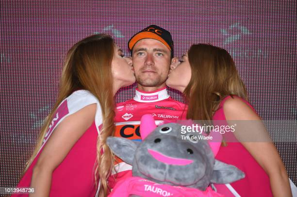 Podium / Lukasz Owsian of Poland and Team Ccc Sprandi Polkowice Pink Mountain Jersey / Celebration / during the 75th Tour of Poland 2018 Stage 6 a...