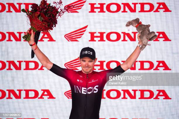Podium / Luke Rowe of Great Britain and Team INEOS Most Combative rider / Celebration / during the 22nd Santos Tour Down Under 2020, Stage 6 a...
