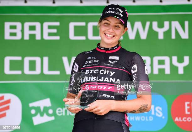Podium / Maaike Boogaard of The Netherlands and Team BTC City Ljubljana Most Aggressive Rider / Celebration / during the 5th OVO Energy Women's Tour...