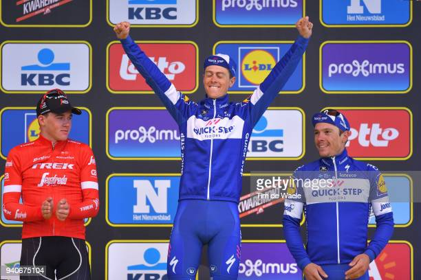 Podium / Mads Pedersen of Denmark and Team Trek Segafredo / Niki Terpstra of The Netherlands and Team Quick-Step Floors / Philippe Gilbert of Belgium...