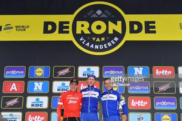 Podium / Mads Pedersen of Denmark and Team Trek Segafredo / Niki Terpstra of The Netherlands and Team Quickstep Floors / Philippe Gilbert of Belgium...