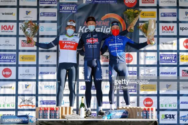 Podium / Mads Pedersen of Denmark and Team Trek - Segafredo, Tim Merlier of Belgium and Team Alpecin-Fenix & Florian Senechal of France and Team...