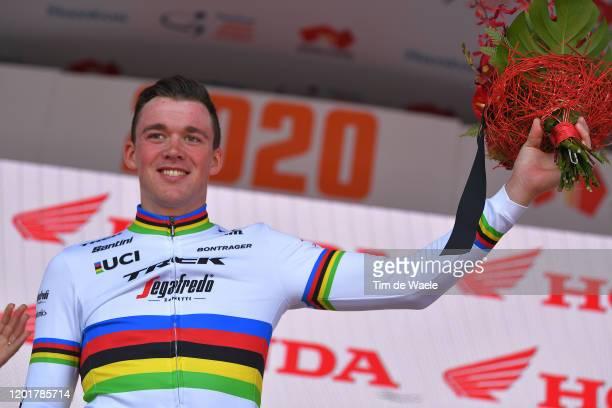 Podium / Mads Pedersen of Denmark and Team Trek-Segafredo / Most Combative Rider / Celebration / during the 22nd Santos Tour Down Under 2020, Stage 5...
