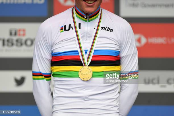 Podium / Mads Pedersen of Denmark Gold Medal / Celebration / Detail view / UCI Rainbow World Champion Jersey / during the 92nd UCI Road World...
