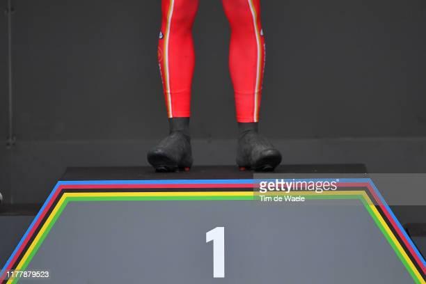 Podium / Mads Pedersen of Denmark Gold Medal / Celebration / Legs / Detail view / during the 92nd UCI Road World Championships 2019, Men Elite Road...