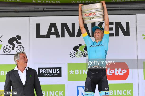 Podium / Magnus Cort Nielsen of Denmark and Astana Pro Team / Celebration / Beer / during the 14th BinckBank Tour 2018, Stage 5 a 204,4km stage from...