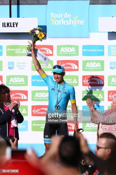 Podium / Magnus Cort of Denmark and Astana Pro Team / Celebration / during the 4th Tour of Yorkshire 2018, Stage 2 a 149km stage from Barnsley to...