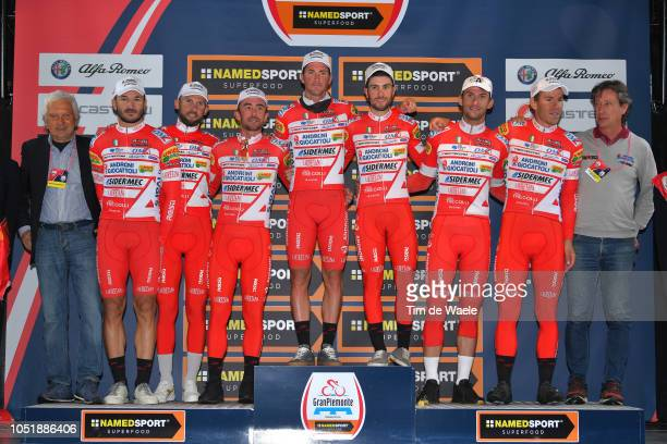 Podium / Manuel Belletti of Italy and Team Androni Giocattoli / Davide Ballerini of Italy and Team Androni Giocattoli / Marco BENFATTO of Italy and...