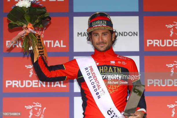 Podium / Manuele Boaro of Italy and Team BahrainMerida Best Sprint Rider / Celebration / during the 7th Prudential RideLondonSurrey Classic 2018 a...