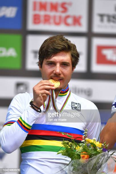 Podium / Marc Hirschi of Switzerland Gold Medal / Celebration / during the Men Under 23 Road Race a 179,9km race from Kufstein to Innsbruck 582m at...